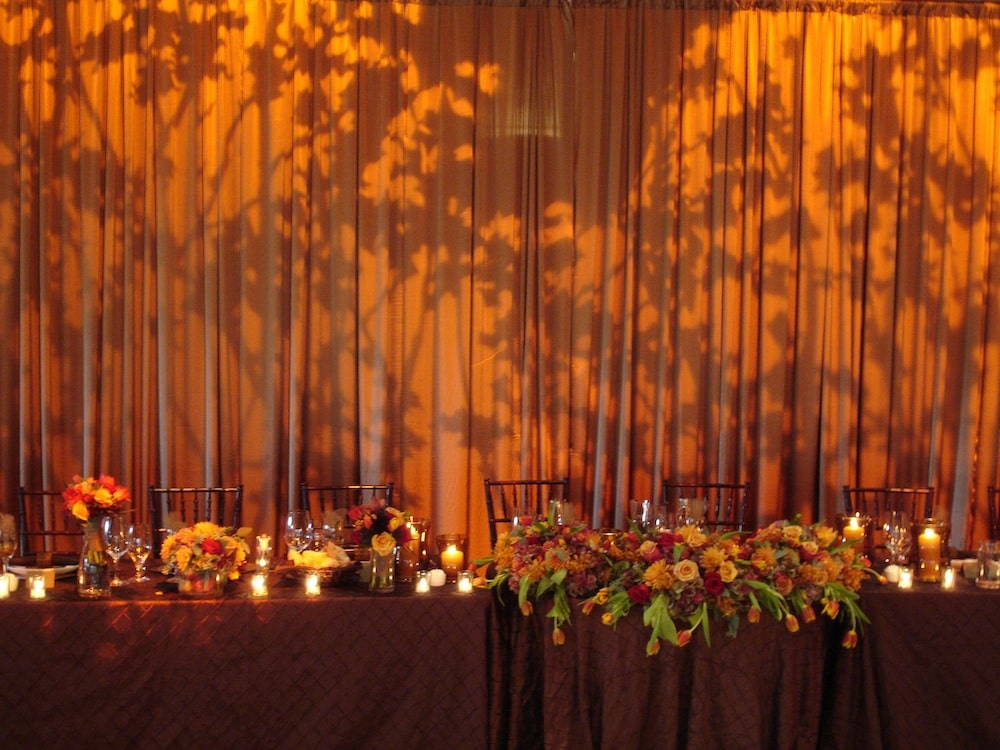 amber gobo pattern with drapery