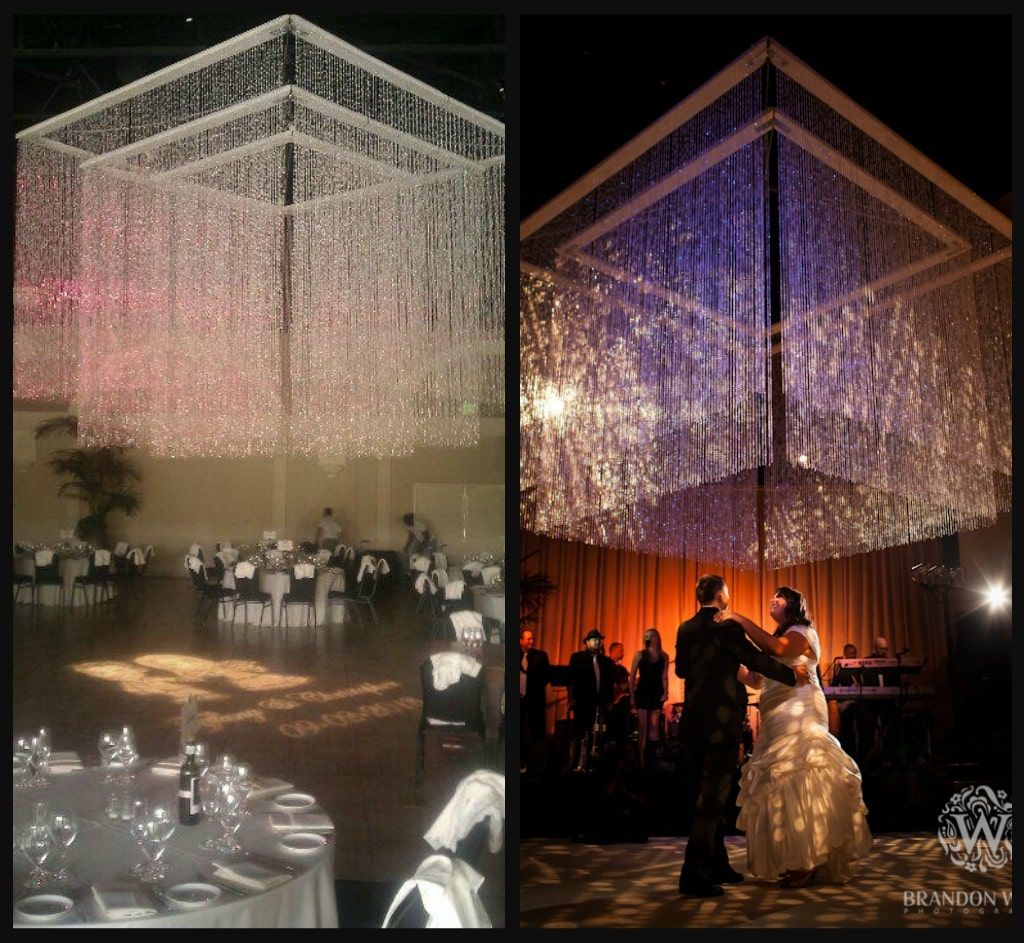 Candle chandeliers fantasy sound event services we also designed and built a 9x9 and 6x6 beaded chandelier that can be nested inside the 12x12 beaded chandelier to really wow your guests aloadofball Images