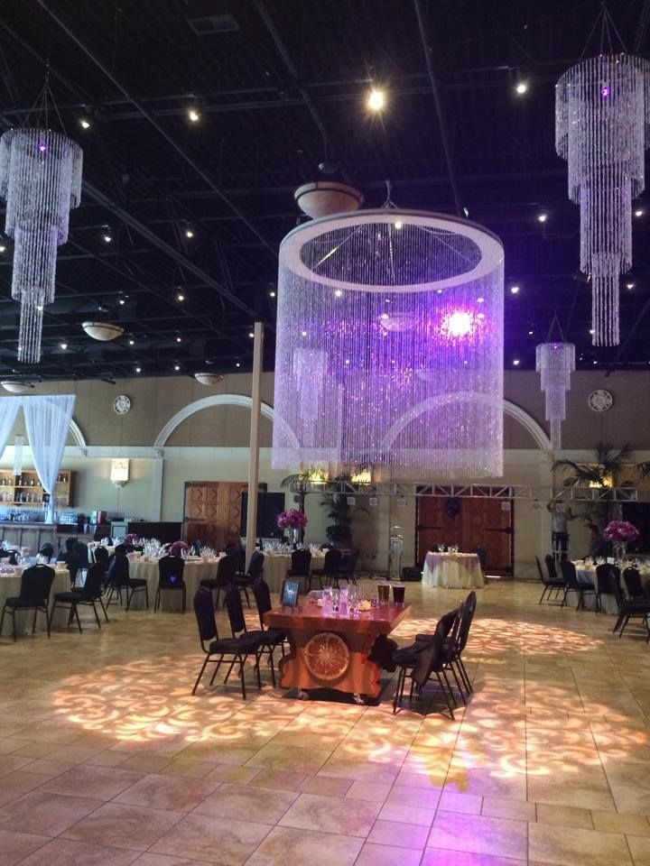 9' Round Single Tier Crystal Bead Chandelier, 4 Tier Round Crystal Bead Chandeliers, and Dance Floor GOBO Washes
