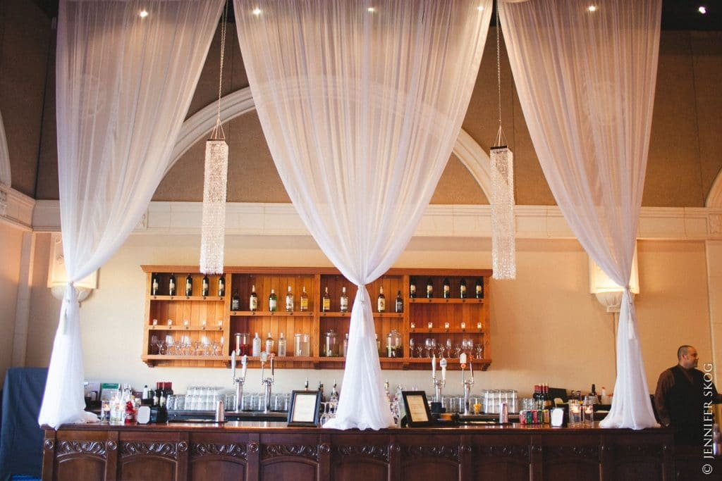 Chiffon Drapery and Square Bead Chandelier Bar Treatment